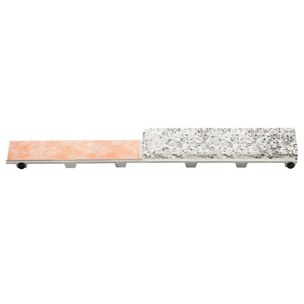 "Schluter KERDI-LINE - 60"" Length - Center Outlets Linear Drain Grate Assembly - 3/4"" Frame Height - Tileable Grate"