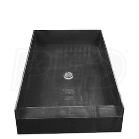 "Tile Redi 4837C Single Curb 48"" x 37"" Shower Pan with 2"" Center Drain"