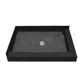 "Tile Redi 3060CDR Double Curb 30"" x 60"" Shower Pan with Right and Front Curb and 2"" Center Drain"