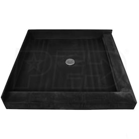 "Tile Redi 3232CDR Double Curb 32"" x 32"" Shower Pan with Right and Front Curb and 2"" Center Drain"