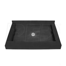 "Tile Redi 4266CDT Triple Curb 42"" x 66"" Shower Pan with 3 Curbs and 2"" Center Drain"