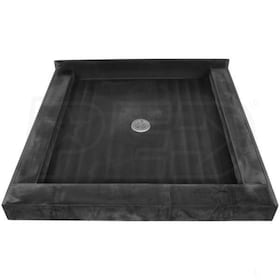 "Tile Redi 4837CDT Triple Curb 48"" x 37"" Shower Pan with 3 Curbs and 2"" Center Drain"