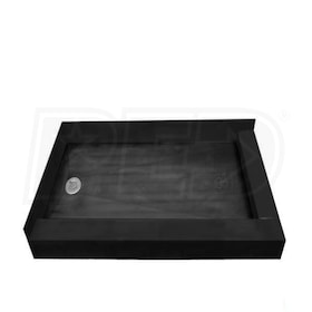 "Tile Redi 3060LDR Double Curb 30"" x 60"" Shower Pan with Front and Left Curbs and 2"" Left Drain"