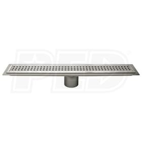 "Schluter KERDI-LINE - 32"" Length - Linear Drain Grate Assembly - 1-1/8"" Frame Height - Perforated Grate - Channel Body Sold Separately"