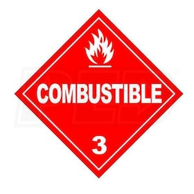 "InfraSave JL-0798-CS Clearance to Combustibles Sign for InfraSave Heaters - 18"" x 6"""