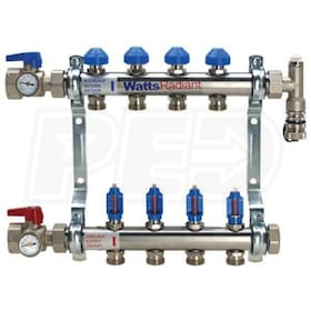 "Watts Radiant M-Series - 2-Port - Stainless Steel Manifold - Complete Kit - 1"" Trunk - 3/4"" BSP Ports"