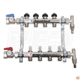 "ComfortPro AquaHeat ProMix 2-Port 1"" Stainless Steel Flow Balancing Manifold Kit (Valves, Gauges, Vents)"