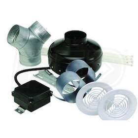 "Soler & Palau KIT-PV200-DV Power Vent Inline Centrifugal Duct Fan Dual Vent Kit w/ Intake Grilles & Y Adapter - 8"", 402 CFM"