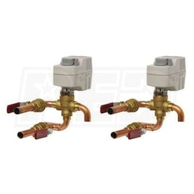 Lanco P-8 1/2' HW and 3/4' CW Three-Way 30 PSI Valve Body and 115V Valve Actuator with Two Ball Valves For Lanco Fan Coils