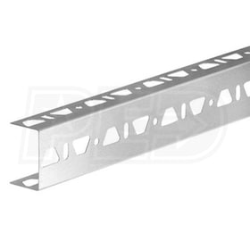 "Schluter KERDI-BOARD-ZB - U-Shaped Profile with Three Perforated Edges - 1"" Height - 8' 2-1/2"" Length - Brushed Stainless Steel"