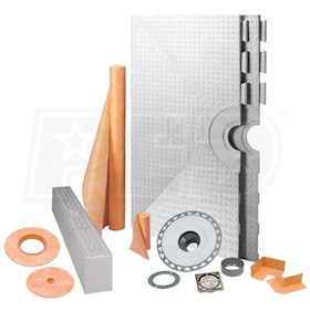 "Schluter KERDI-SHOWER-KIT - 48"" x 48"" Tray - Shower Kit - Center Drain - PVC Flange - Brushed Nickel Anodized Aluminum"
