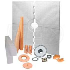 "Schluter KERDI-SHOWER-KIT - 72"" x 72"" Tray - Shower Kit - Center Drain - PVC Flange - Oil Rubbed Bronze Steel"