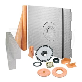 "Schluter KERDI-SHOWER-KIT - 32"" x 60"" Tray - Shower Kit - Off Center Drain - ABS Flange - Brushed Brass Anodized Aluminum"