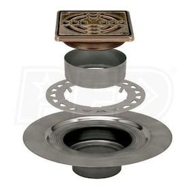 "Schluter KERDI-DRAIN - Stainless Steel Flange - Drain Kit - 2"" Drain Outlet - 4"" Square Grate - Oil Rubbed Bronze Steel"