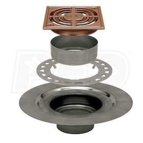 "Schluter KERDI-DRAIN - Stainless Steel Flange - Drain Kit - 2"" Drain Outlet - 4"" Square Grate - Brushed Bronze Anodized Aluminum"