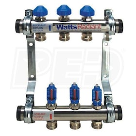 "Watts Radiant M-Series - 6-Port - Stainless Steel Manifold - Trunk Only - 1-1/2"" Trunk - 3/4"" BSP Ports"