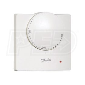 Danfoss RET 24VF Electronic Room Thermostat, Setting Dial, LED Indicator, C Scale, Dry Contacts, 24V