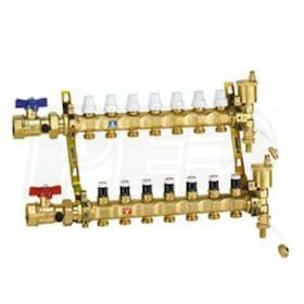 "Caleffi TwistFlow Pre-assembled Manifold Assembly, 1"" Inlet Ball Valves, 6 outlets with Flow Gauge"