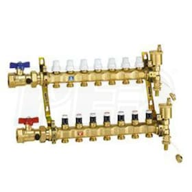 "Caleffi TwistFlow Pre-assembled Manifold Assembly, 1-1/4"" Inlet Ball Valves, 9 outlets with Flow Gauge"