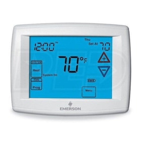 "Emerson 1F95-1280 Big Blue 12"" Touchscreen Thermostat, Universal Staging/Heat Pump, Commercial"