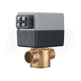 "Caleffi  Z-One Z54 2-Way Valve and Actuator Set with Terminal Block & AUX Switch, 1/2"" Sweat, Normally Closed,  2.5 Cv, 50 PSI"