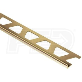 "Schluter SCHIENE - Edging Profile - For 3/16"" Thick Tile - 8' 2-1/2"" Length - Solid Brass"