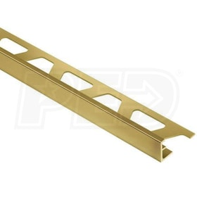 "Schluter SCHIENE - Edging Profile - For 1/2"" Thick Tile - 8' 2-1/2"" Length - Solid Brass"