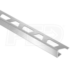"Schluter SCHIENE - Edging Profile - For 5/16"" Thick Tile - 8' 2-1/2"" Length - Bright Chrome Anodized Aluminum"