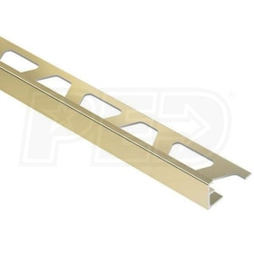 "Schluter SCHIENE - Edging Profile - For 1/2"" Thick Tile - 8' 2-1/2"" Length - Bright Brass Anodized Aluminum"