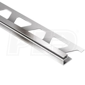 "Schluter DECO - Edging Profile - For 1/2"" Thick Tile - 8' 2-1/2"" Length - Stainless Steel"