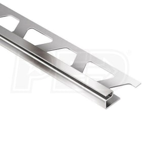 "Schluter DECO - Edging Profile - For 5/8"" Thick Tile - 8' 2-1/2"" Length - Stainless Steel"