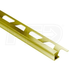 "Schluter DECO - Edging Profile - For 1/2"" Thick Tile - 8' 2-1/2"" Length - Solid Brass"