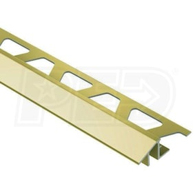 "Schluter RENO-TK - Height Transition Profile - For 1/2"" Thick Tile - 8' 2-1/2"" Length - Bright Brass Anodized Aluminum"