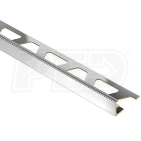 "Schluter JOLLY - Edging Profile - For 3/8"" Thick Tile - 8' 2-1/2"" Length - Chrome Plated Solid Brass"