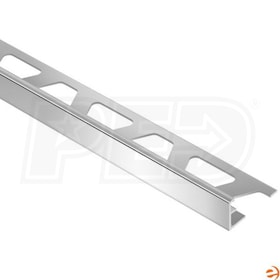 "Schluter JOLLY - Edging Profile - For 3/8"" Thick Tile - 8' 2-1/2"" Length - Polished Chrome Anodized Aluminum"