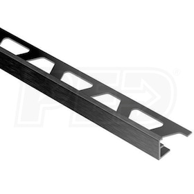 "Schluter JOLLY - Edging Profile - For 1/2"" Thick Tile - 8' 2-1/2"" Length - Brushed Graphite Anodized Aluminum"