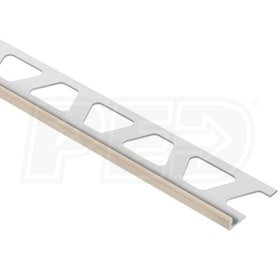 "Schluter JOLLY - Edging Profile - For 1/8"" Thick Tile - 8' 2-1/2"" Length - Light Beige Coated Aluminum"