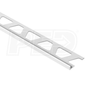 "Schluter JOLLY - Edging Profile - For 3/16"" Thick Tile - 8' 2-1/2"" Length - White Coated Aluminum"