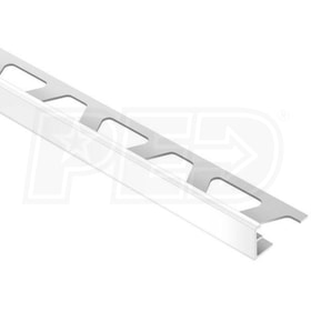 "Schluter JOLLY - Edging Profile - For 3/8"" Thick Tile - 8' 2-1/2"" Length - Bright White Coated Aluminum"