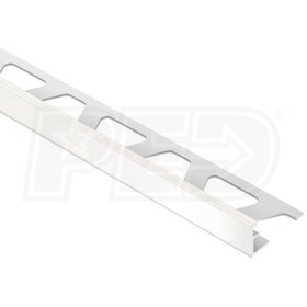 "Schluter JOLLY - Edging Profile - For 1/2"" Thick Tile - 8' 2-1/2"" Length - White Coated Aluminum"