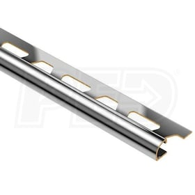 "Schluter RONDEC - Edging Profile - For 3/8"" Thick Tile - 8' 2-1/2"" Length - Chrome Plated Solid Brass"