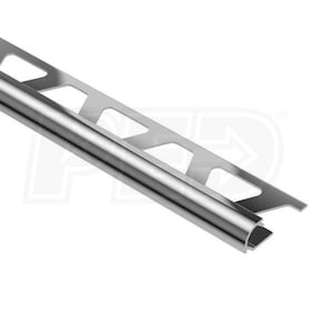 "Schluter RONDEC - Edging Profile - For 5/16"" Thick Tile - 8' 2-1/2"" Length - Polished Chrome Anodized Aluminum"