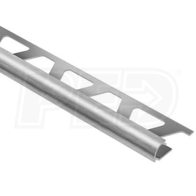 "Schluter RONDEC - Edging Profile - For 1/2"" Thick Tile - 8' 2-1/2"" Length - Brushed Chrome Anodized Aluminum"