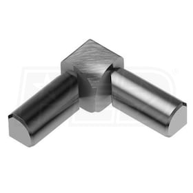 "Schluter RONDEC - 90 Degree Double-Leg Inside Corner - For 3/8"" Thick Tile - Brushed Chrome Anodized Aluminum"