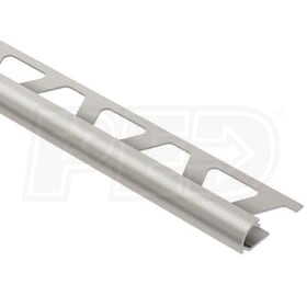 "Schluter RONDEC - Edging Profile - For 1/2"" Thick Tile - 8' 2-1/2"" Length - Satin Nickel Anodized Aluminum"