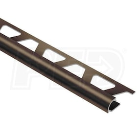 "Schluter RONDEC - Edging Profile - For 1/4"" Thick Tile - 8' 2-1/2"" Length - Antique Bronze Anodized Aluminum"