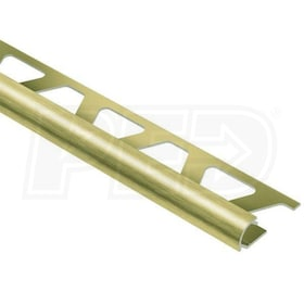 "Schluter RONDEC - Edging Profile - For 1/2"" Thick Tile - 8' 2-1/2"" Length - Brushed Brass Anodized Aluminum"