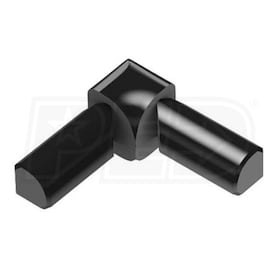 "Schluter RONDEC - 90 Degree Double-Leg Inside Corner - For 3/8"" Thick Tile - Bright Black Anodized Aluminum"
