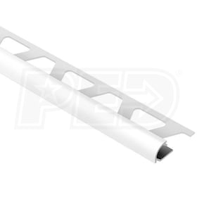 "Schluter RONDEC - Edging Profile - For 1/4"" Thick Tile - 8' 2-1/2"" Length - Bright White Coated Aluminum"