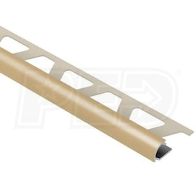 "Schluter RONDEC - Edging Profile - For 1/4"" Thick Tile - 8' 2-1/2"" Length - Light Beige Coated Aluminum"